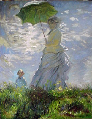 WOMAN with PARASOL New MONET Art Bag Purse Tote S or L | eBay